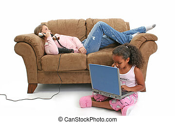 Babysitter Phone - Beautiful teen girl on brown couch...