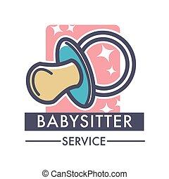 Babysitter service company caring for children logo of nanny...