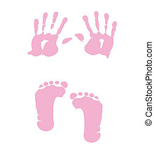 babystellfläche, m�dchen, -, handabdruck