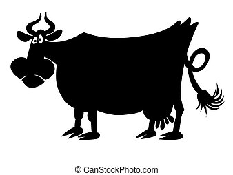 bac, vaca, silueta, blanco