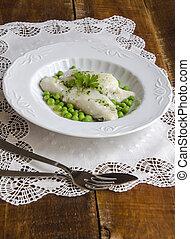 Bacalao al pil pil with peas