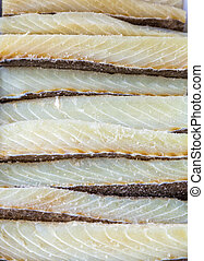 Bacalao dried cod - Dried cod or bacalao at a market stall.