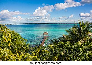 bacalar, lago, en, caribbean., quintana roo, méxico, viajar,...