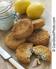 bacalhau, e, salmão, pesque bolos, com, molho tártaro