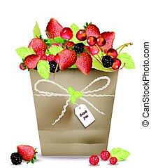 bacca, frutte, e, ciliegia, in, uno, basket., vettore, illustrazione