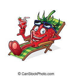 bacca, su, sedia spiaggia
