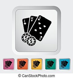 Baccarat. Single flat icon on the button. Vector...