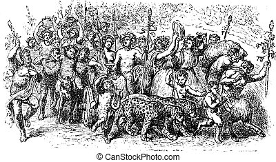 Bacchanalia, a wild and mystic festivals of the Greco-Roman god Bacchus vintage engraving. Old engraved illustration of the people taking part in the Bacchanalia festival.