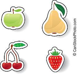 bacche, colorito, frutte