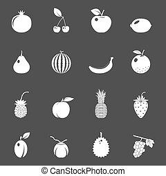 bacche, frutte, set, vettore, icone