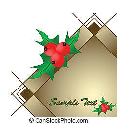 bacche, illustrazione, maturo, cornice, vettore, agrifoglio, pianta rossa