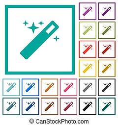 bacchetta magica, appartamento, colorare, icone, con, quadrante, cornici