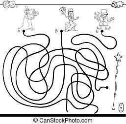 bacchetta magica, colorare, maghi, labirinto, libro