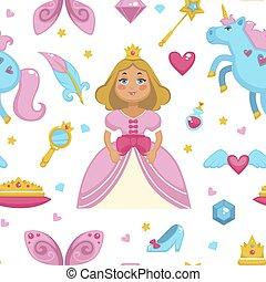 bacchetta magica, modello, seamless, unicorno, elementi, principessa fata