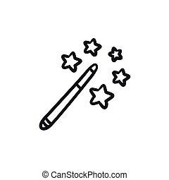 bacchetta magica, schizzo, icon.