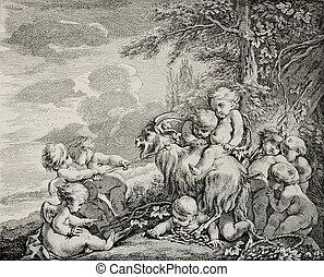 Bacchus feast - Antique illustration depicting Bacchus...