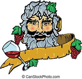 bacchus, of, dionysus, de, god, van, wijntje