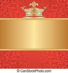 bacground - red background with golden frame and crown