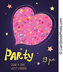 bacground, of, feestje, illustratie, -, jarig, muziek, gebeurtenis, gekke