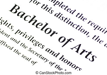 Bachelor of Arts Designation - A close up of a Bachelor of ...