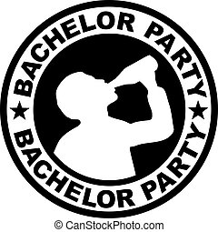 Bachelor party badge with drinking man
