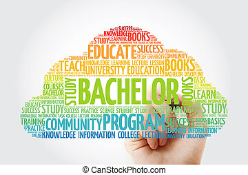 Bachelor word cloud collage with marker, education concept ...