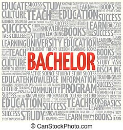 Bachelor word cloud, education concept background