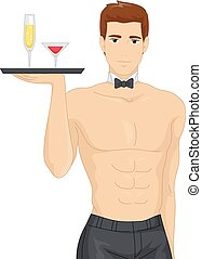 bachelorette, homem, saque, bebidas