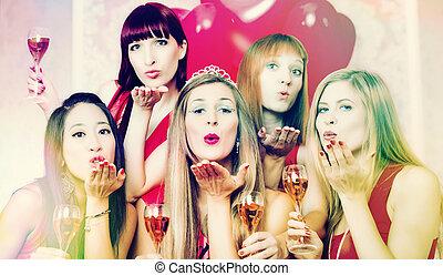 bachelorette, klub, nacht, party, haben, frauen