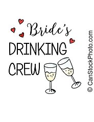 Bachelorette party template. bridal shower. print on t-shirt.