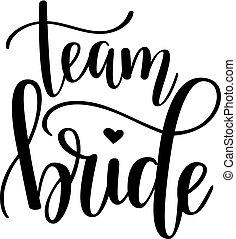 bachelorette, wedding, braut, vektor, design, mannschaft, kaffeeklatsch