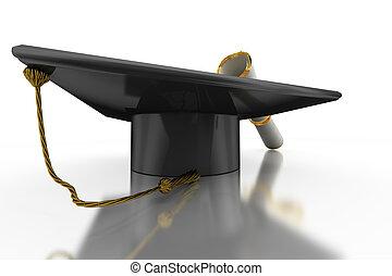 Bachelor\'s hat and diploma