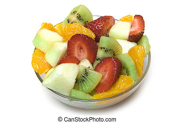 bacia fruta fresca, salada
