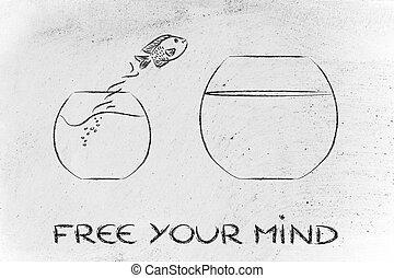 bacia peixes, livre, pensar, mente, pular, unconventionally,...