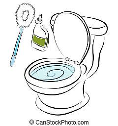 bacia toalete, limpeza, ferramentas