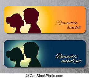 baciare, coppia, silhouette, bandiere