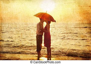 baciare, coppia, spiaggia, sunset.