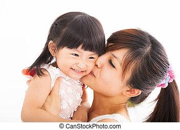 baciare, felice, figlia, lei, madre