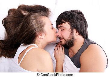 Baciare, naso, marito, lei, moglie
