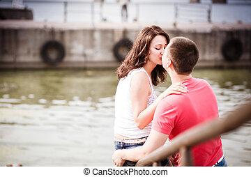 baciare, porto, coppia