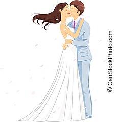 baciare, romantico, matrimonio