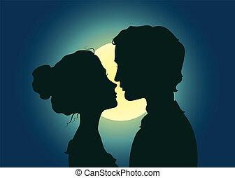 baciare, silhouette, coppia
