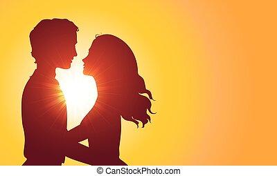 baciare, silhouette, tramonto, coppia