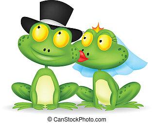 baciare, sposato, cartone animato, rana