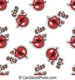 bacio, stock., pattern., seamless, labbra, vettore, femmina, sexy, comico, rosso