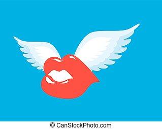 bacio, wings., alato, romantico, lips., character., volare, aria