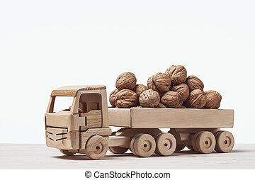 back., トラック, おもちゃ, 木, クルミ
