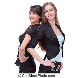back., ビジネスの女性たち, 成功した, 2, 地位, 背中