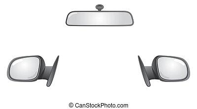 back, achterkant, spiegels