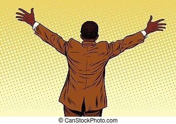 Back African American businessman open hands for hugs
